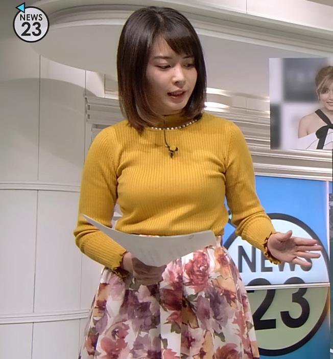 皆川玲奈アナ ニット横乳がエロいキャプ・エロ画像2
