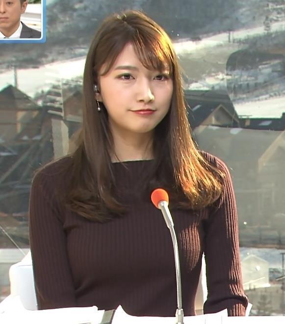 三田友梨佳アナ 平昌でもニットおっぱい♡キャプ・エロ画像