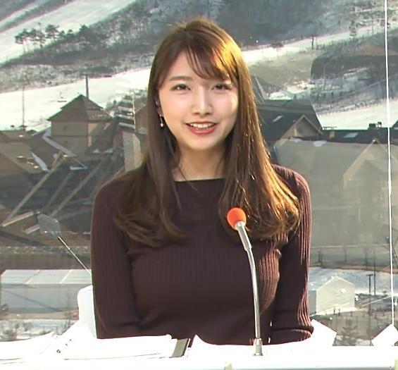 三田友梨佳アナ 平昌でもニットおっぱい♡キャプ・エロ画像2