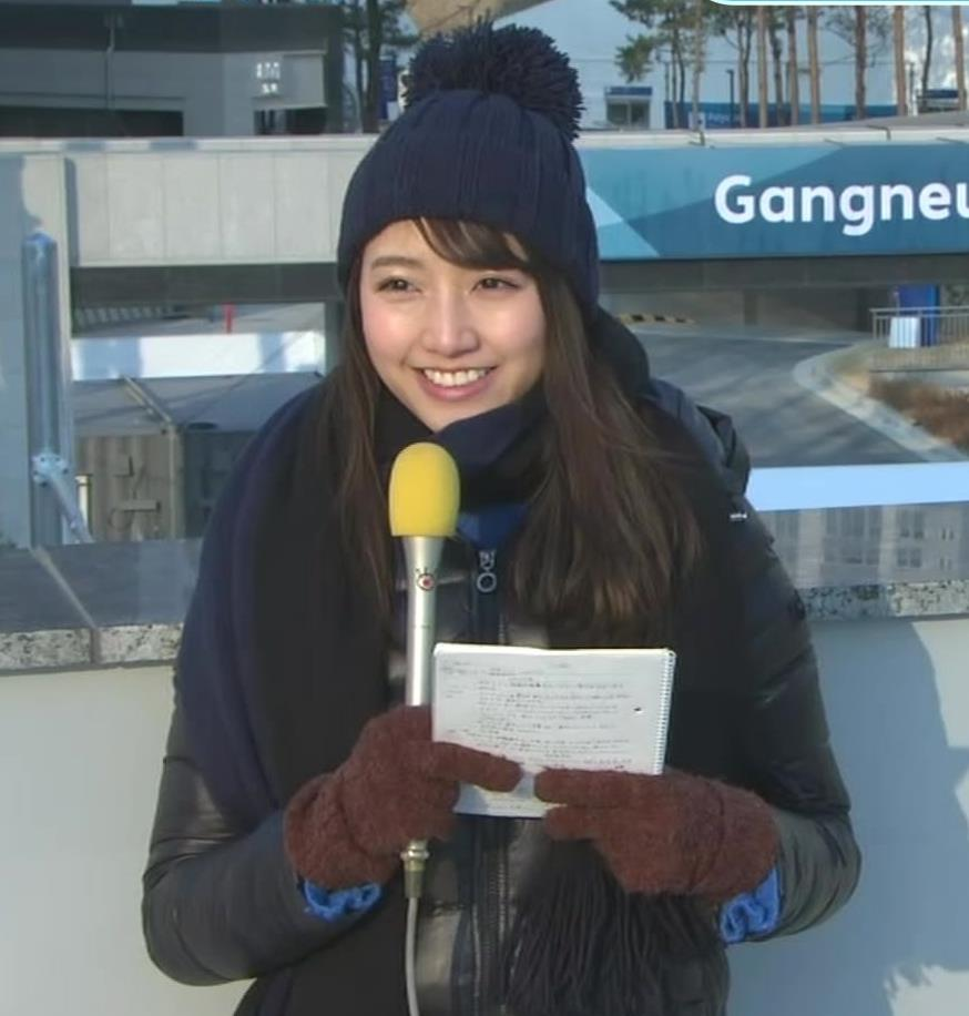 三田友梨佳アナ 平昌でもニットおっぱい♡キャプ・エロ画像3