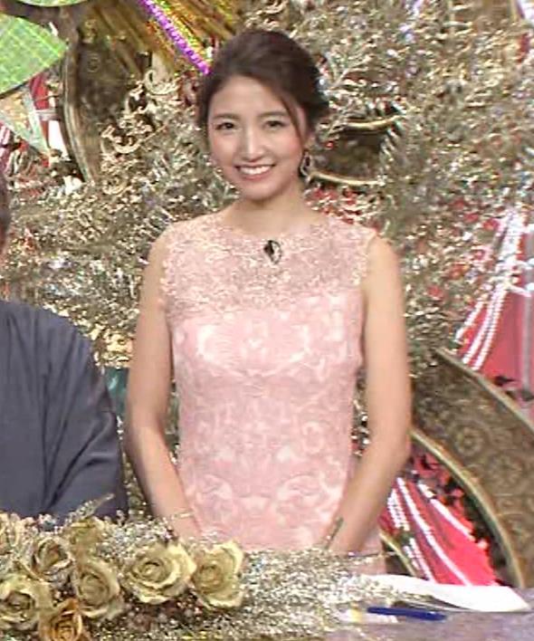 三田友梨佳アナ ピンクのノースリーブドレスキャプ・エロ画像5