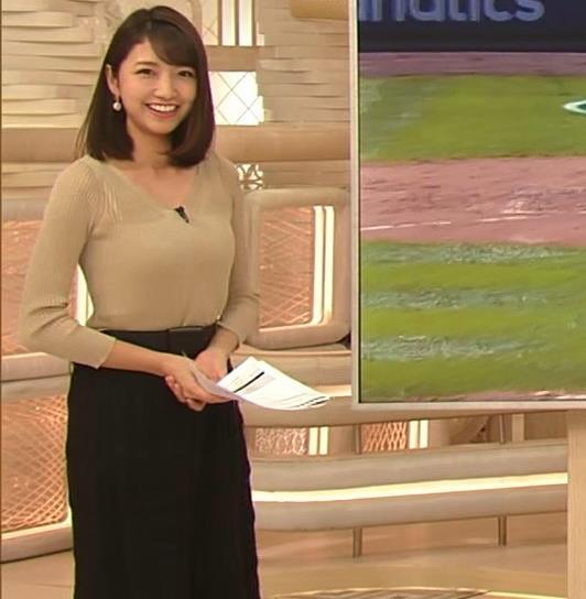 三田友梨佳アナ エッチなニットおっぱいキャプ・エロ画像11