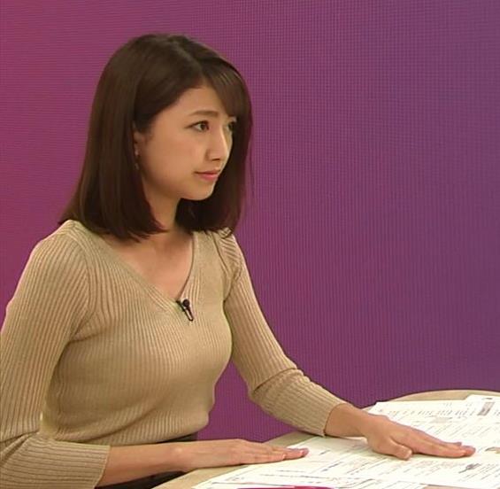 三田友梨佳アナ エッチなニットおっぱいキャプ・エロ画像3