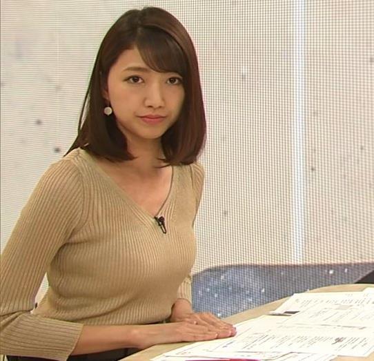 三田友梨佳アナ エッチなニットおっぱいキャプ・エロ画像4