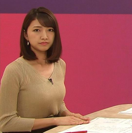 三田友梨佳アナ エッチなニットおっぱいキャプ・エロ画像5