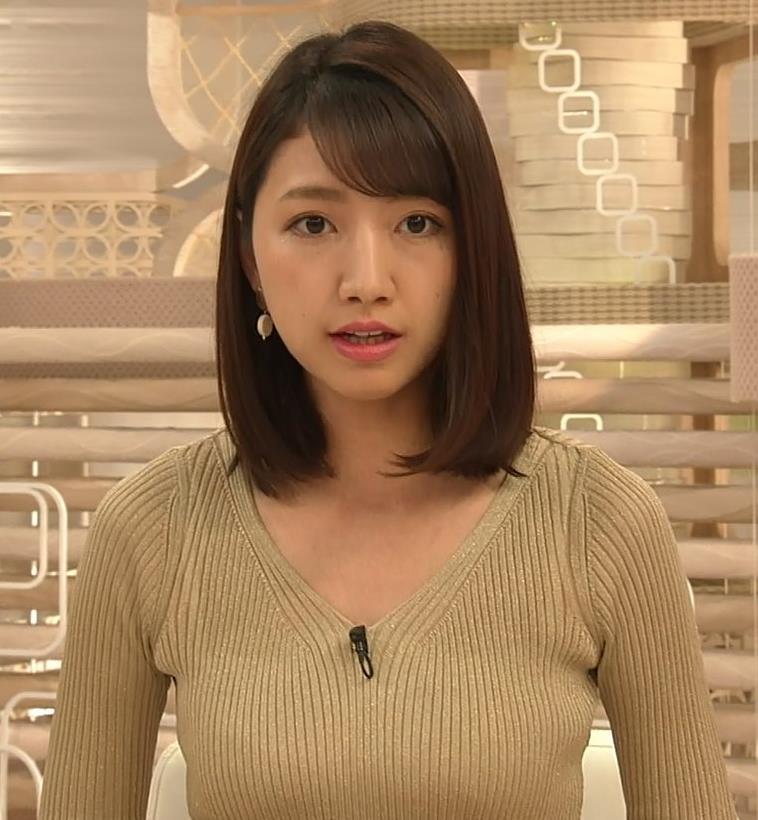 三田友梨佳アナ エッチなニットおっぱいキャプ・エロ画像6