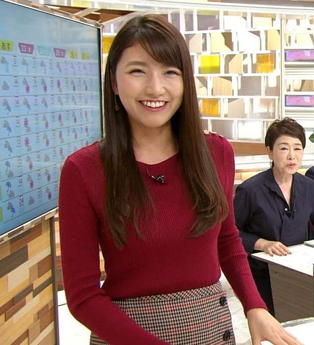 三田友梨佳アナ ぴったりニットキャプ・エロ画像5