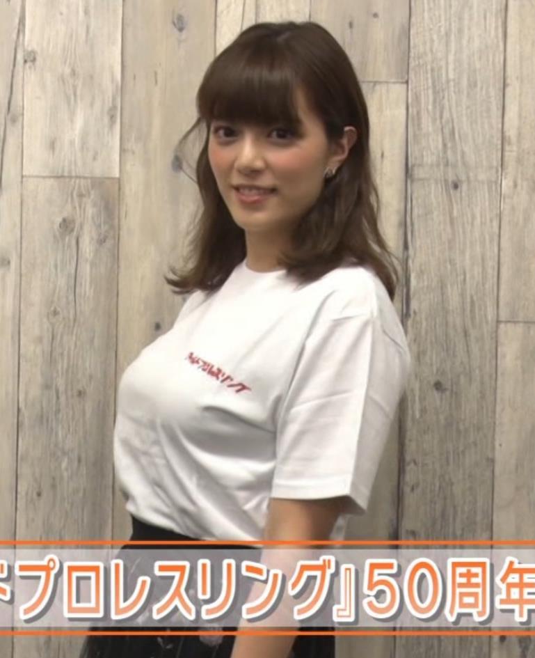 三谷紬アナ 爆乳アナのTシャツ姿がすげぇキャプ・エロ画像