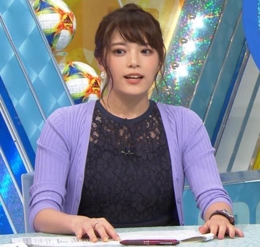 三谷紬アナ 乳隠しても十分かわいて魅力的キャプ画像(エロ・アイコラ画像)
