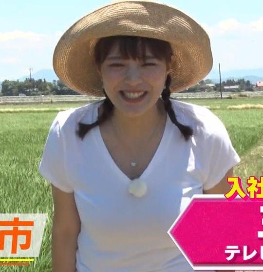 三谷紬アナ 爆乳アナのエロエロTシャツ姿キャプ・エロ画像