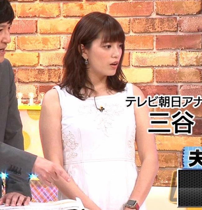 三谷紬アナ ムチムチなノースリーブ二の腕キャプ・エロ画像