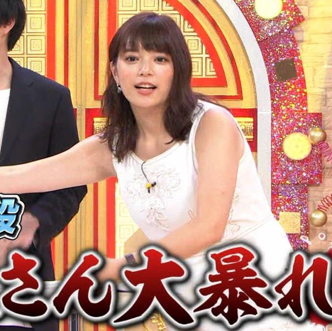 三谷紬アナ ムチムチなノースリーブ二の腕キャプ・エロ画像9