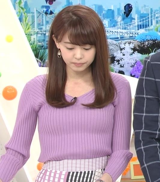 宮澤智アナ ニットで乳がクッキリ!乳デカそうキャプ・エロ画像