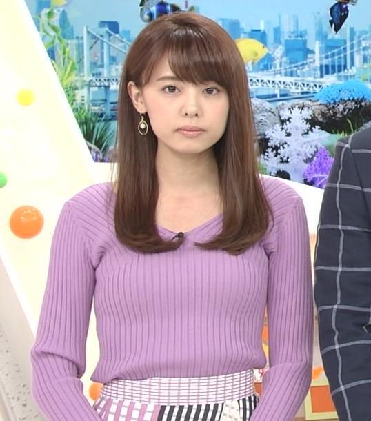 宮澤智アナ ニットで乳がクッキリ!乳デカそうキャプ・エロ画像2