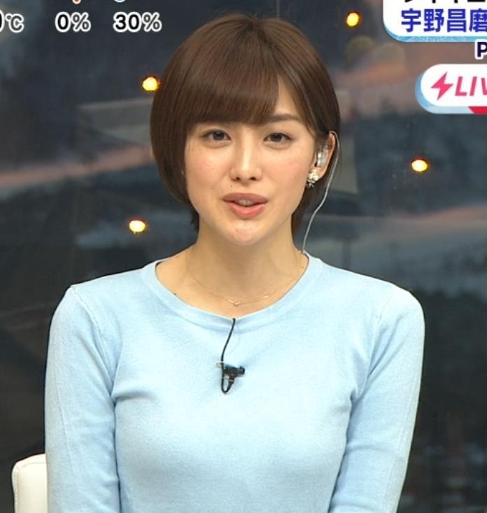 宮司愛海アナ 大きくないけどエロいニットおっぱいキャプ・エロ画像