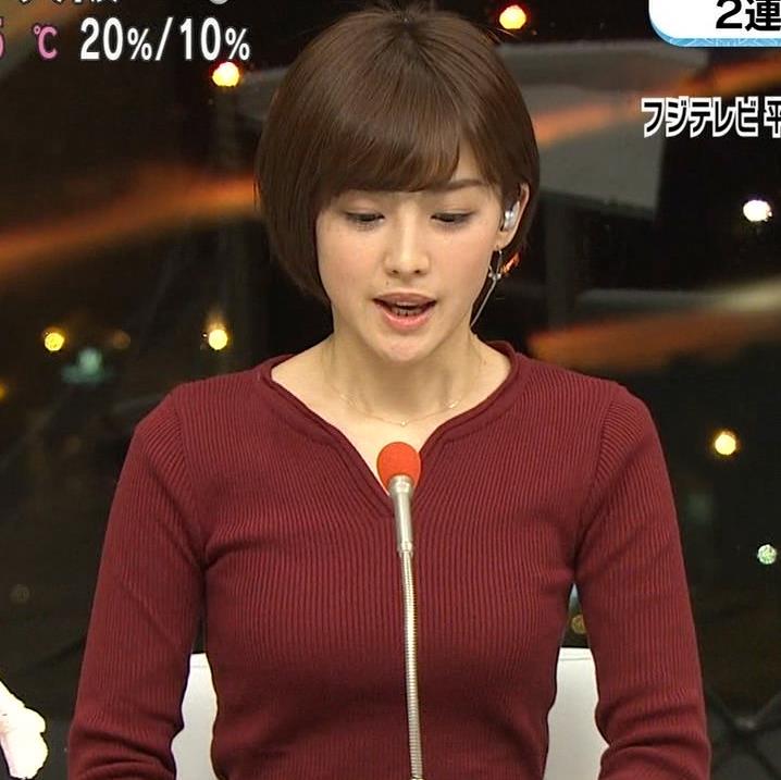 宮司愛海アナ 平昌からの中継のニットおっぱいがエロいキャプ・エロ画像