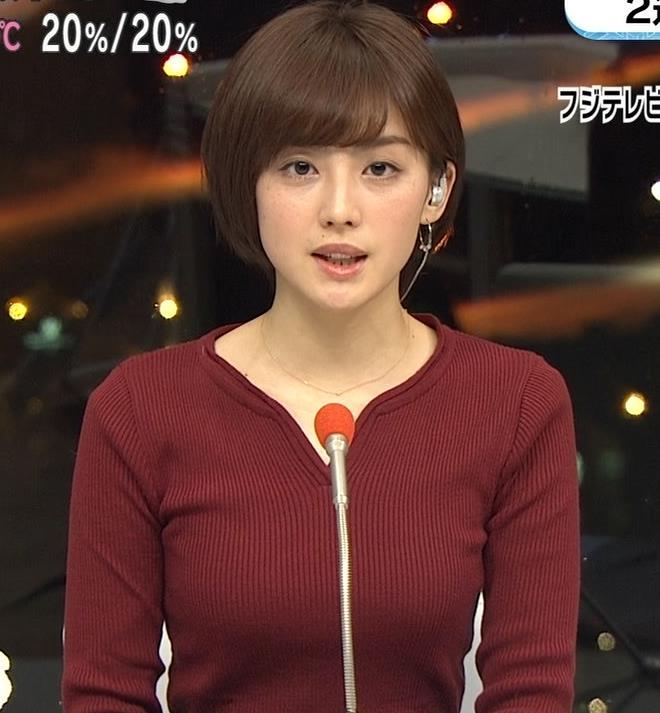 宮司愛海アナ 平昌からの中継のニットおっぱいがエロいキャプ・エロ画像2