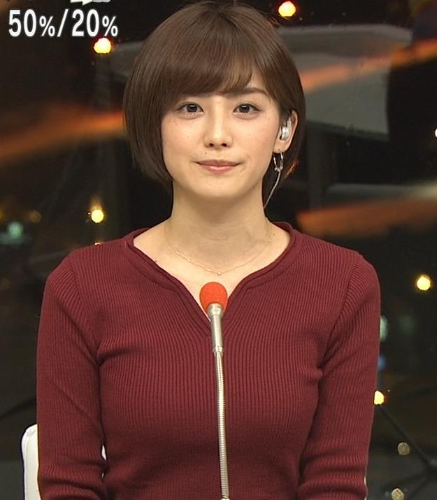 宮司愛海アナ 平昌からの中継のニットおっぱいがエロいキャプ・エロ画像4