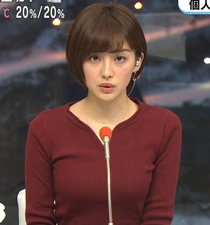 宮司愛海アナ 平昌からの中継のニットおっぱいがエロいキャプ・エロ画像5