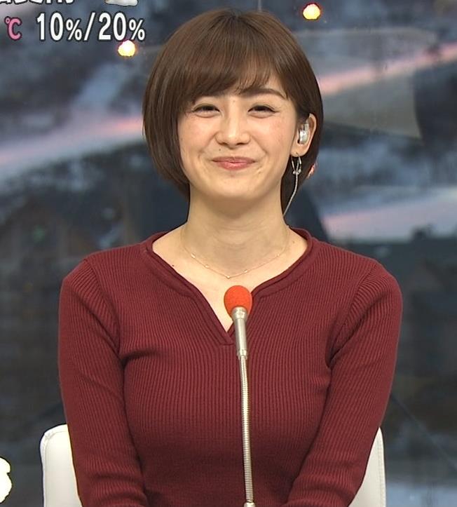 宮司愛海アナ 平昌からの中継のニットおっぱいがエロいキャプ・エロ画像6