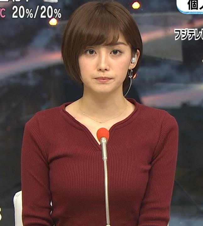 宮司愛海アナ 平昌からの中継のニットおっぱいがエロいキャプ・エロ画像7