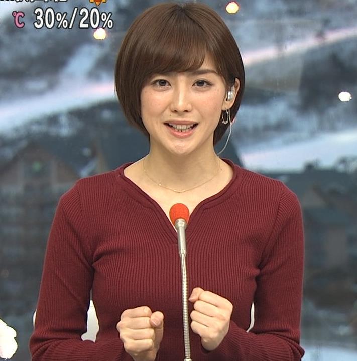 宮司愛海アナ 平昌からの中継のニットおっぱいがエロいキャプ・エロ画像8