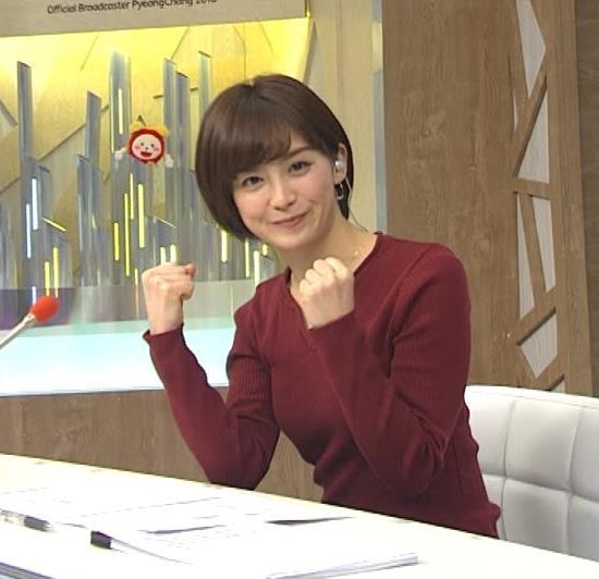 宮司愛海アナ 平昌からの中継のニットおっぱいがエロいキャプ・エロ画像9