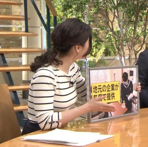 森川夕貴アナ ボーダー柄で際立つおっぱいのラインキャプ画像(エロ・アイコラ画像)