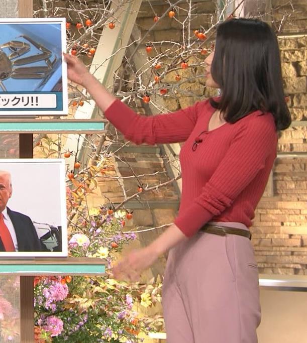 森川夕貴アナ ニット巨乳を両腕ではさむ!キャプ・エロ画像9
