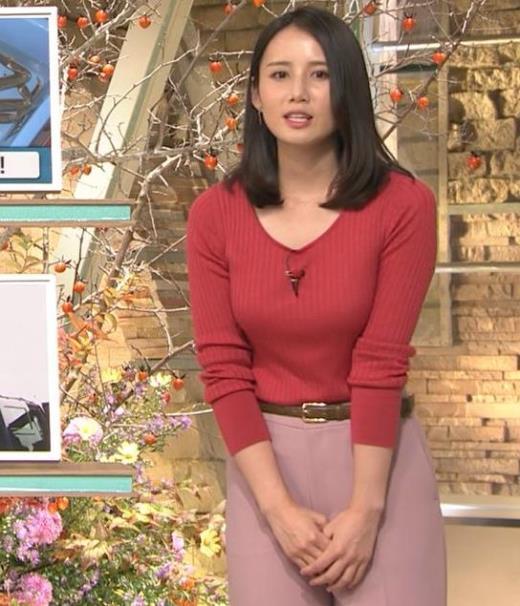森川夕貴アナ ニット巨乳を両腕ではさむ!キャプ画像(エロ・アイコラ画像)