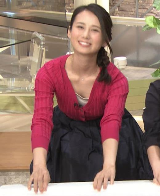 森川夕貴アナ 前かがみで思いっきり胸元チラキャプ画像(エロ・アイコラ画像)
