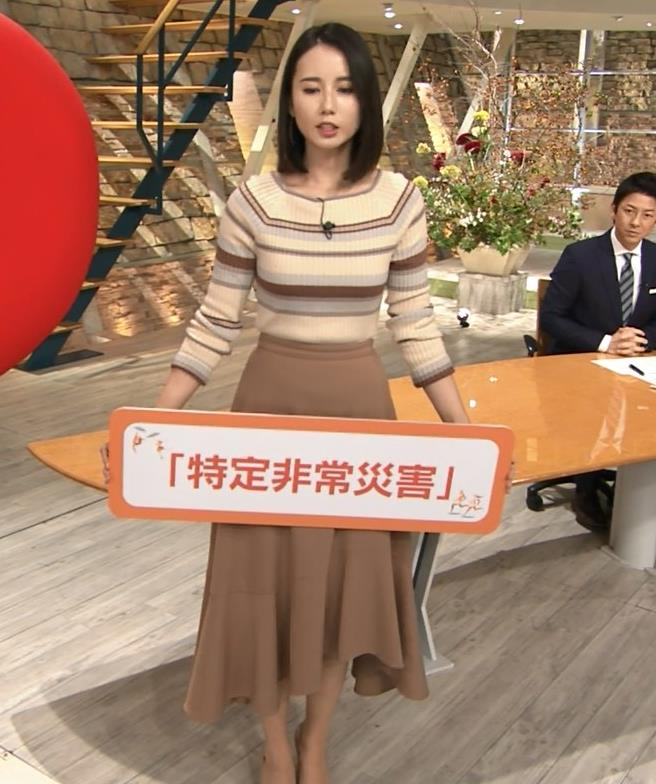 森川夕貴アナ カラダのラインがでるボーダーニットキャプ・エロ画像3