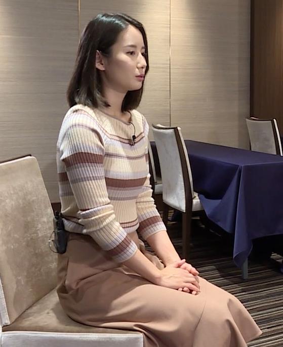 森川夕貴アナ カラダのラインがでるボーダーニットキャプ・エロ画像4