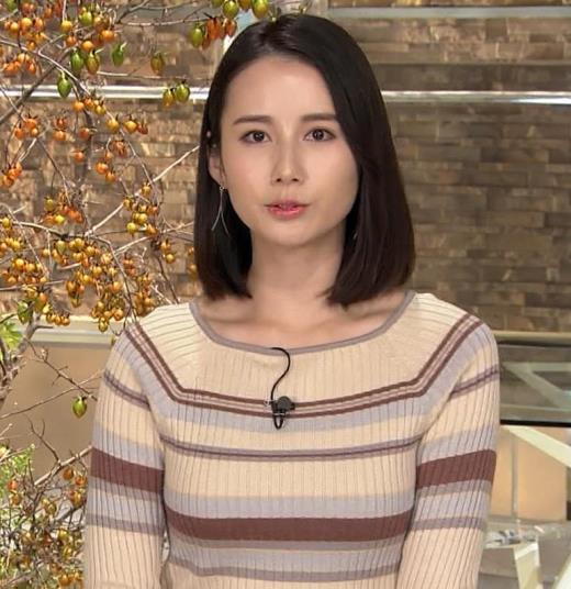 森川夕貴アナ カラダのラインがでるボーダーニットキャプ画像(エロ・アイコラ画像)