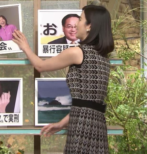 森川夕貴アナ 胸のラインが際立つ柄キャプ・エロ画像4