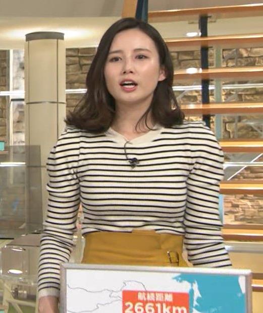 森川夕貴アナ 横縞シャツでおっぱいのラインが露わに!キャプ・エロ画像2