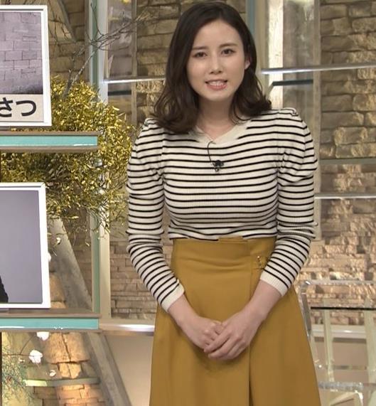 森川夕貴アナ 横縞シャツでおっぱいのラインが露わに!キャプ・エロ画像7