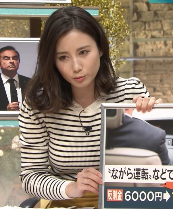 森川夕貴アナ 横縞シャツでおっぱいのラインが露わに!キャプ・エロ画像9