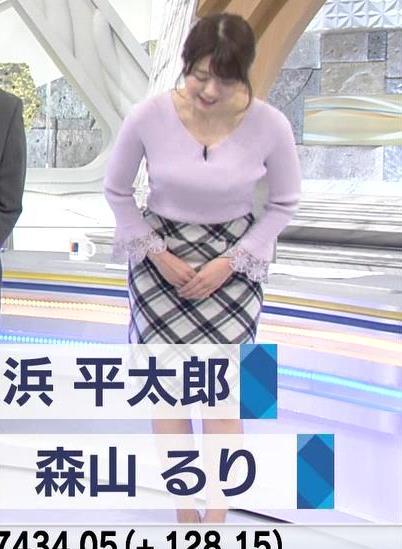 森山るりアナ ニットおっぱい♥キャプ・エロ画像