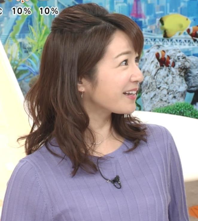 長野美郷アナ 紫のニットキャプ・エロ画像2