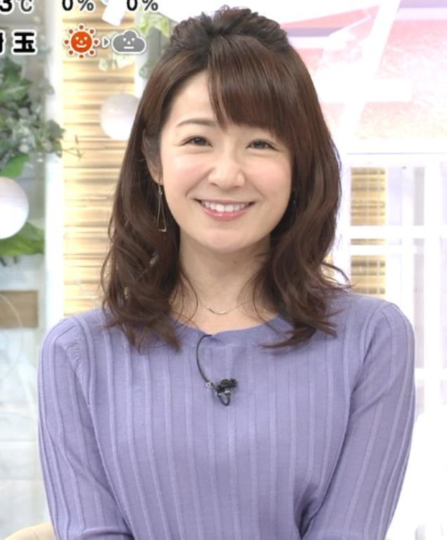 長野美郷アナ 紫のニットキャプ・エロ画像4