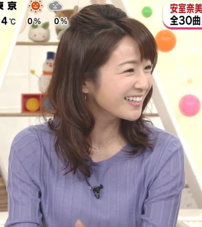 長野美郷アナ 紫のニットキャプ・エロ画像6