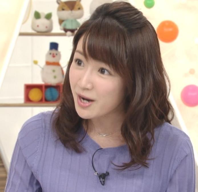 長野美郷アナ 紫のニットキャプ・エロ画像7