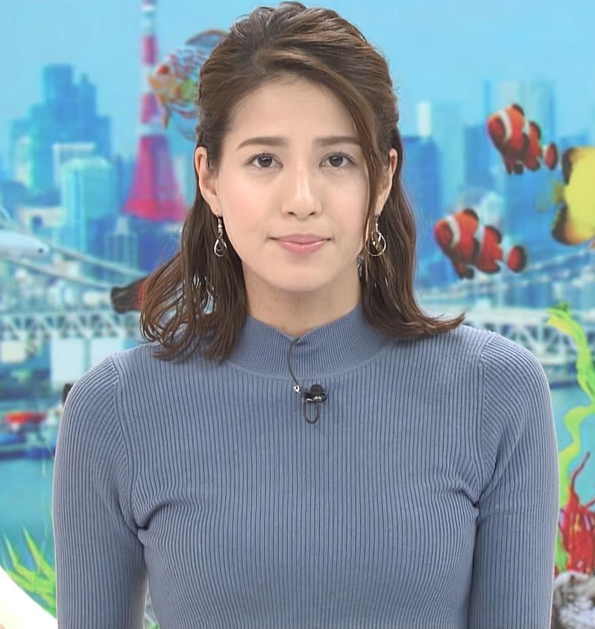 永島優美アナ ピチピチなニットおっぱいキャプ・エロ画像