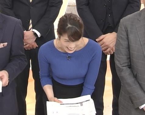 永島優美アナ ニットおっぱい♡肩幅が気になる…?キャプ・エロ画像13