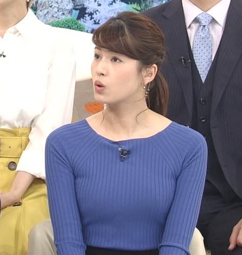 永島優美アナ ニットおっぱい♡肩幅が気になる…?キャプ・エロ画像4