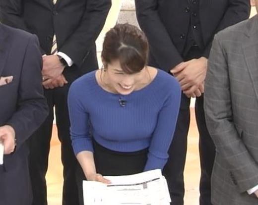 永島優美 ニットおっぱい♡肩幅が気になる…?キャプ画像(エロ・アイコラ画像)