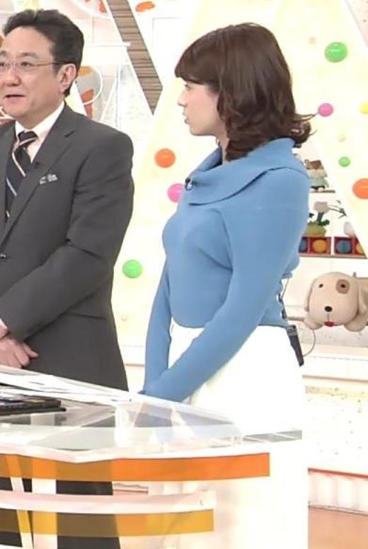 永島優美アナ ゆったりめのニットのほうがおっぱいがエロくない??キャプ画像(エロ・アイコラ画像)