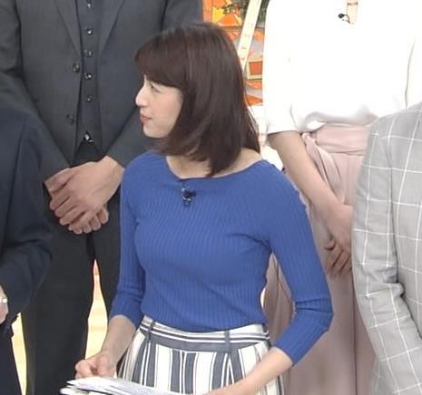 永島優美アナ いつもピタピタのニットを着てるキャプ・エロ画像