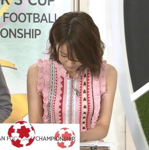 中川絵美里アナ かわいいノースリーブキャプ・エロ画像2
